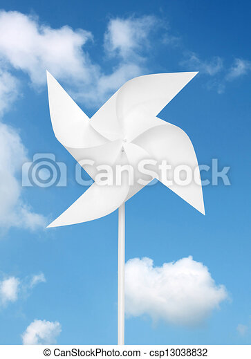 toy windmill over blue sky  - csp13038832