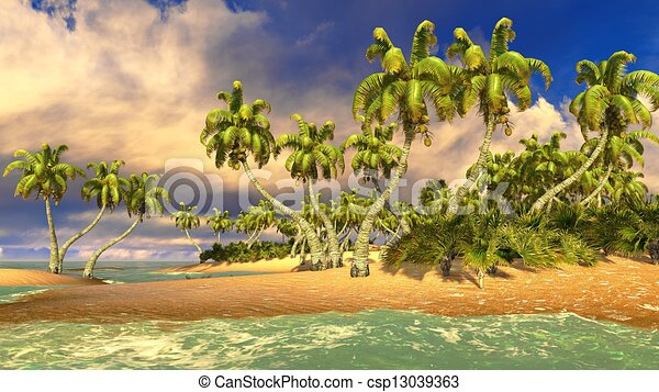 Stock Illustration of Tropical paradise beach in Caribbean ...