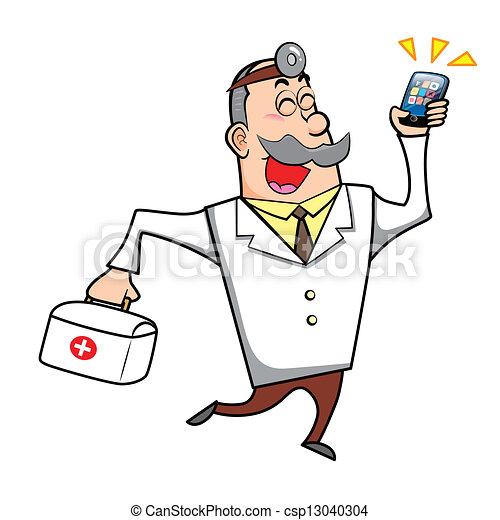 Vector Clip Art de caricatura, doctor, primero, ayuda, Kit, móvil ...