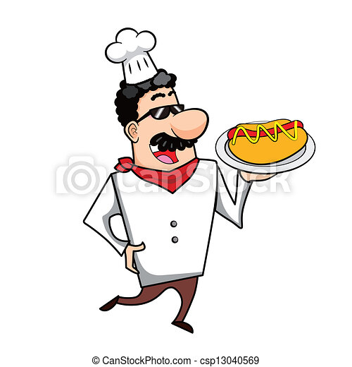 Clip Art Vector of Cartoon Chef with Hot Dog - Cartoon chef with hot ...