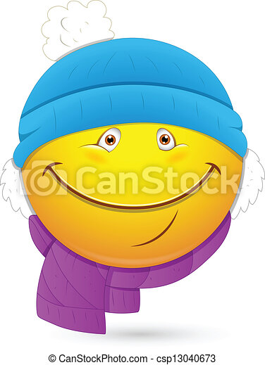 Vector - Winter Costume Smiley Face - stock illustration  royalty free    Winter Smiley Face