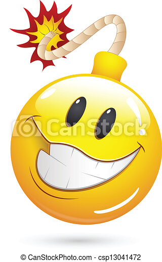 Exploding Bomb Emoticon Offer blast bomb smiley face -