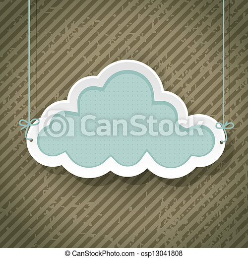 cloud as retro sign on grunge background - csp13041808