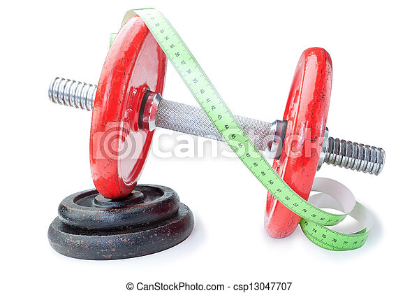 Meter for measurements on dumbbells for fitness. On a white background. - csp13047707