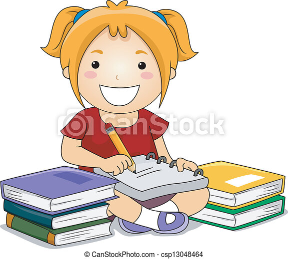 clip art vector of kid girl writing illustration of kid free soccer girl clipart girl soccer clipart black and white
