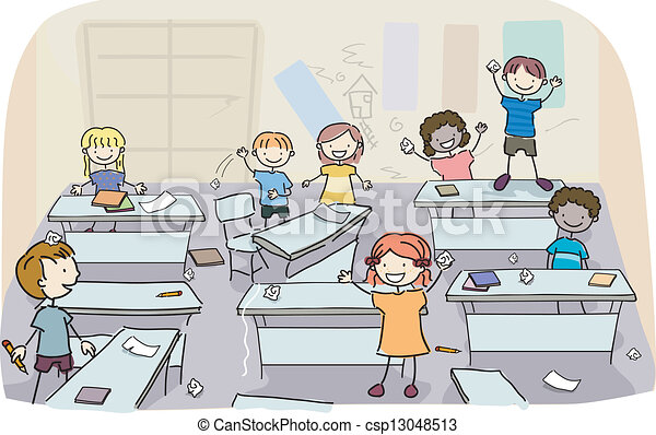 Vector Clip Art Of Stick Kids In Messy Classroom