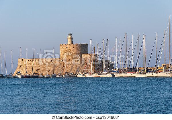 Rhodes Landmark Mandraki Port - csp13049081