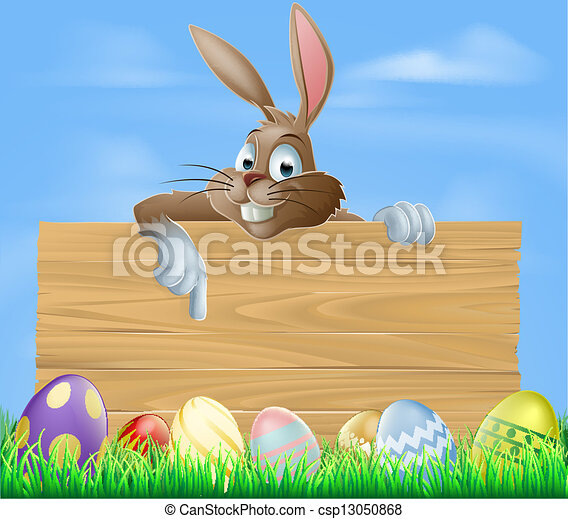 Cartoon Easter bunny pointing - csp13050868