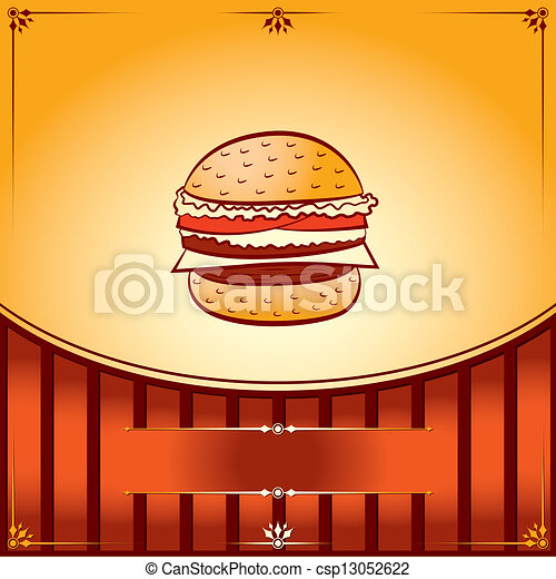 Hot Hamburger. Vector graphic Illustration with place for text - csp13052622