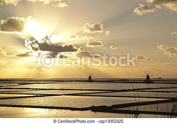 Sunset on saltern quater - csp13053325