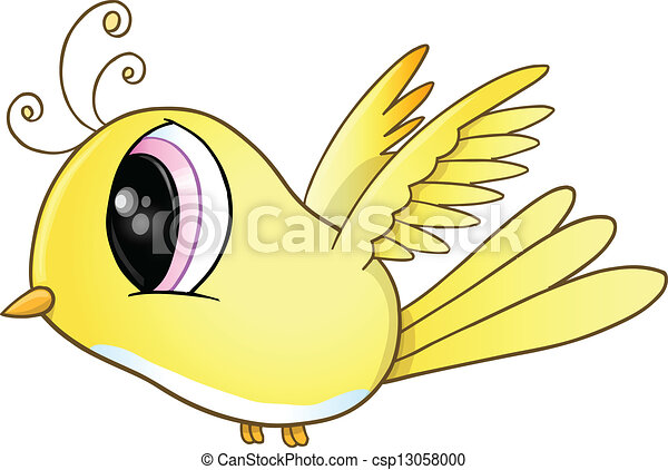 Cute Little Yellow Bird Vector Art - csp13058000