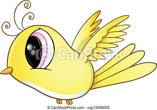 Cute Little Yellow Bird Vector Art - csp13058000