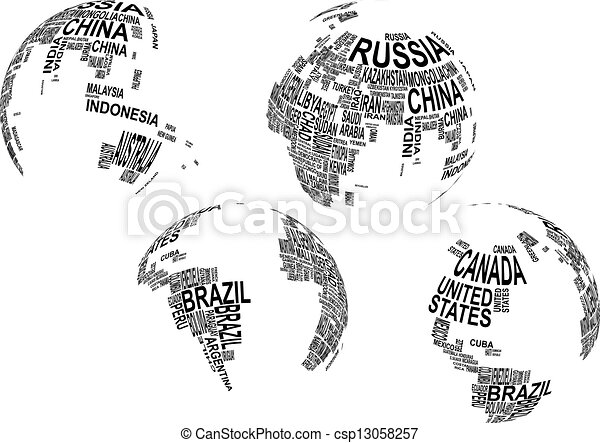 Clipart Vector of text globe - illustration of world map globe ...