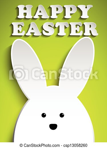 Happy Easter Rabbit Bunny on Green Background - csp13058260