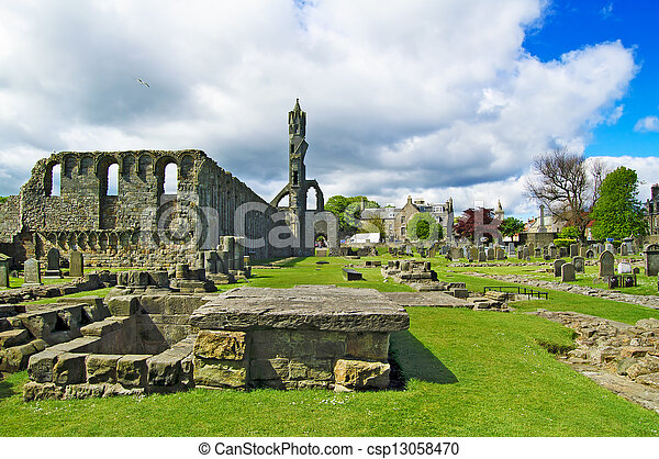 St Andrews Cathedral ruins medieval landmark. Fife, Scotland. - csp13058470