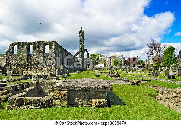 St Andrews Cathedral ruins medieval landmark. Fife, Scotland. - csp13058470