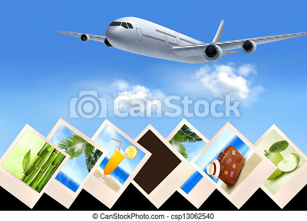 Background with airplane and with photos from holidays. Travel concept. Vector - csp13062540
