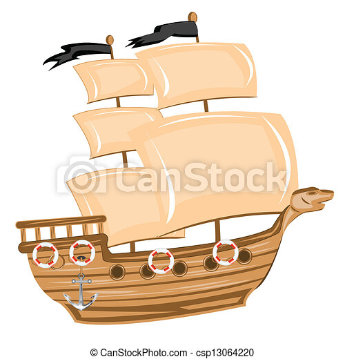 Vector Illustration of Pirate ship - Illustration pirate ship on ...