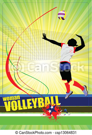 Set of volleyball women silhouettes - csp13064831