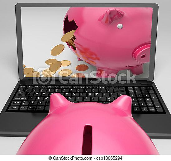 Coins Piggy Laptop Shows Banking Financial Success - csp13065294