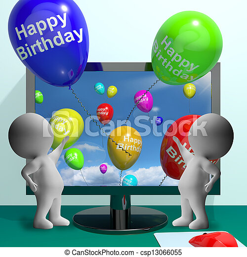 Balloons Greeting From Computer Celebrates Happy Birthday - csp13066055