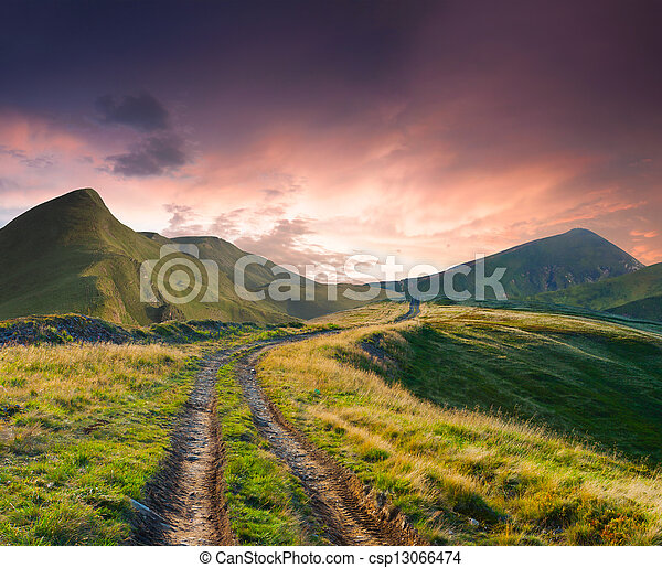 Beautiful summer landscape with road in the mountains - csp13066474