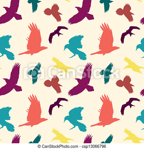 Colourful birds silhouettes seamles - csp13066796