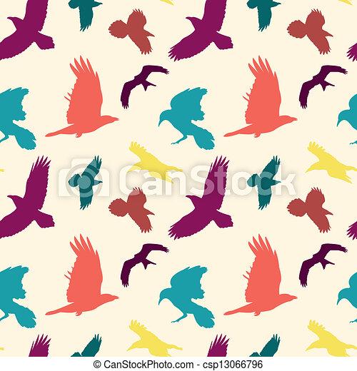 Colourful birds silhouettes seamles - csp13066796
