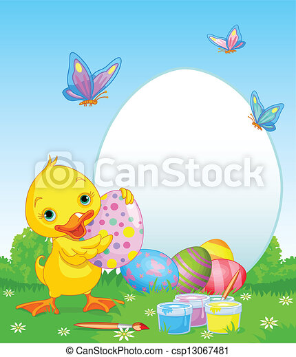 Easter Duckling painting Easter Eg - csp13067481
