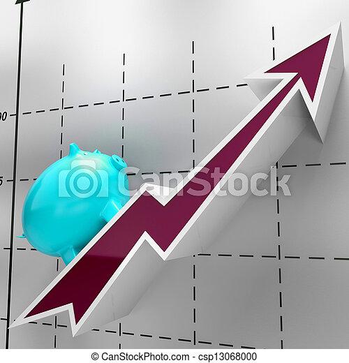 Climbing Piggy Shows Money, Savings And Banking - csp13068000
