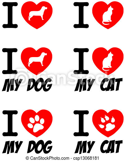 Vector Of I Love Dog And Cat Signs Collection I Love Dog