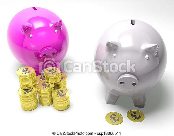 Two Piggybanks Savings Show Britain Banking Accounts - csp13068511