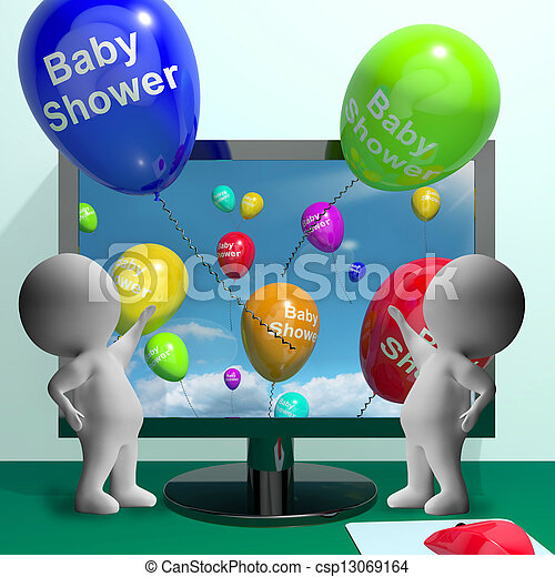 Baby Shower Balloons From Computer Showing Birth Party Invitatio - csp13069164