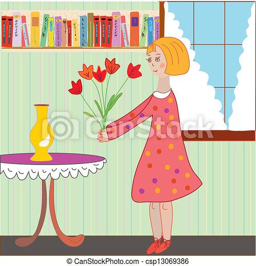 Vetor menina crian a organizando flores sala for Sala de estar 3x5