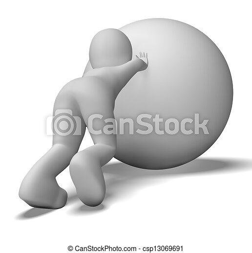 Struggling Uphill Man With Ball Shows Determination - csp13069691