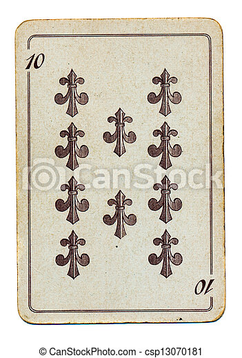 old and aged palying card isolated on white