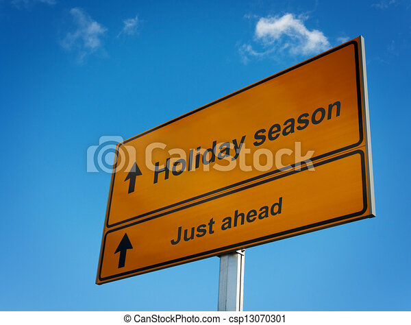 Holiday season road sign background sky. - csp13070301