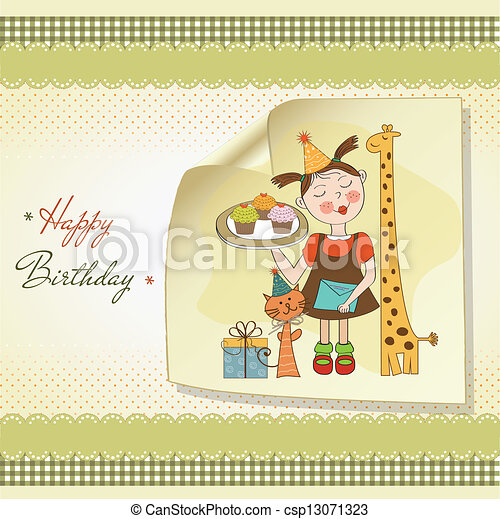 Happy Birthday card with funny girl, animals and cupcakes - csp13071323