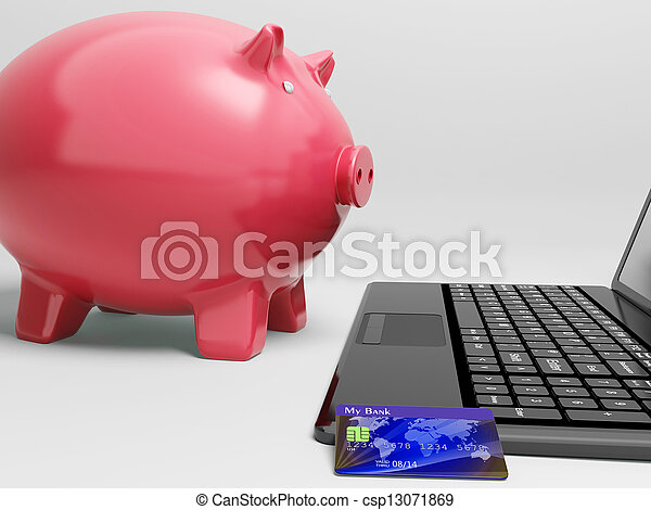 Piggy At Computer Shows Banking On Laptop - csp13071869