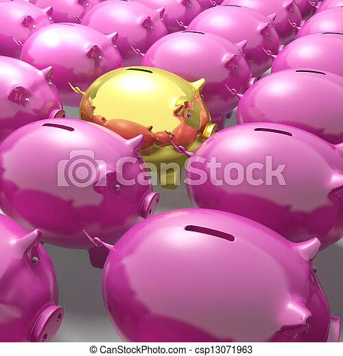Golden Piggybank Among Group Showing Unique Banking Accounts - csp13071963