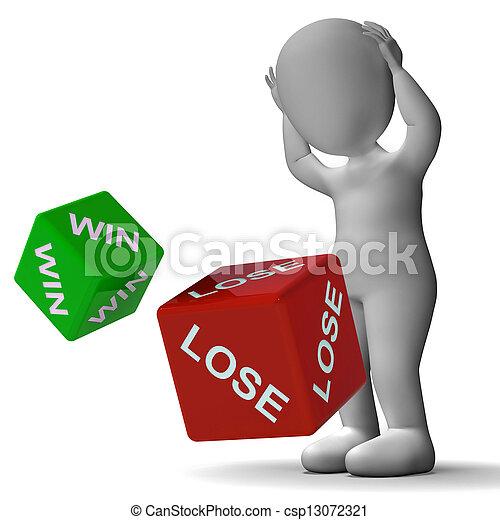 Win Lose Dice Showing Gambling - csp13072321