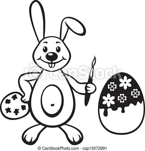Rabbit paints Easter egg - csp13072991