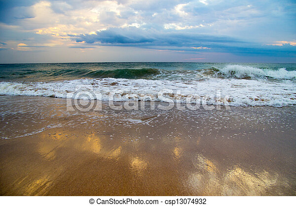 beach at sunset - csp13074932