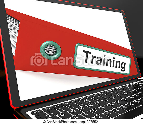 Training File On Laptop Shows Coaching - csp13075521
