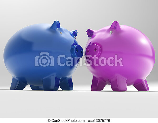 Pair Of Pigs Shows Savings Banking And Money - csp13075776