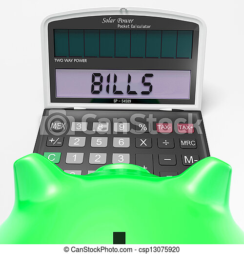 Bills Calculator Shows Invoices Payable And Accounting - csp13075920