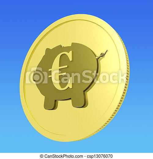 Euro Piggy Coin Shows European Banking Status - csp13076070