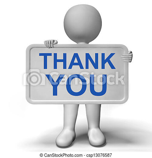 Thank You Sign Showing Thanks And Gratefulness - csp13076587