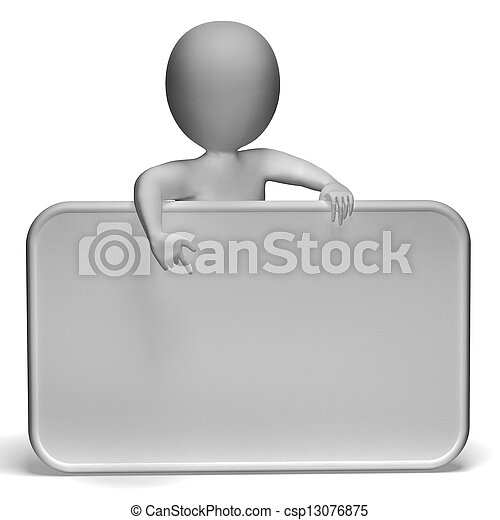 White Blank Sign Has Copyspace And 3d Character Pointing - csp13076875