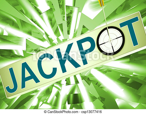 Jackpot Shows Lucky Winner Gambling In Vegas - csp13077416